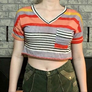 Tops - 🦋2 for $10🦋Colourful Striped Knit Crop top